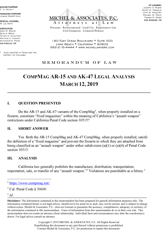 Our Firearms Attorneys on the Legality of CompMag  - CompMag